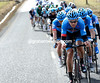 Bauer is back, and working flat-out to hold a nearly five-minute gap for his Garmin teamates...