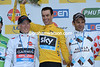 Paris-Nice winner Richie Porte celebrates with runner-up Andrew Taansky and 3rd-placed Jean-Christophe Peraud...