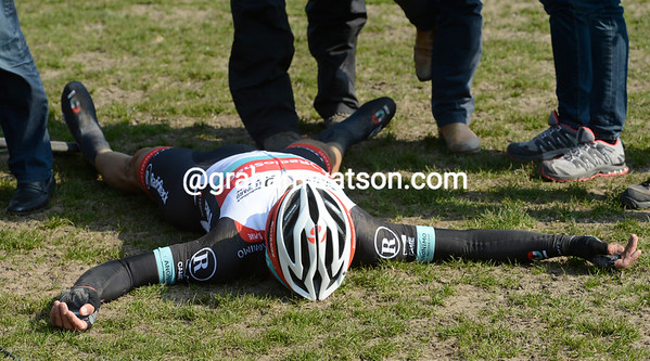 Cancellara is too tired to celebrate his victory just yet...