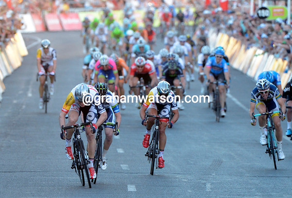 In the sprint, Andre Greipel is so far ahead of the rest, only Matthew Goss is anywhere near him...