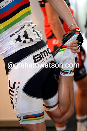 Stretch... Philippe Gilbert is one hour away from his first race in 2013 as World Champion...