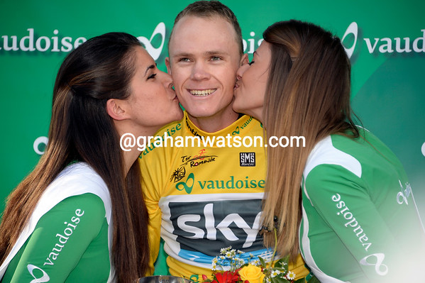 Chris Froome enjoys the kisses as stage-winner, and first leader of the 2013 Tour de Romandie...
