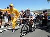 Kerby climbs Checkers Hill with a crazy fan encouraging him all the way..!