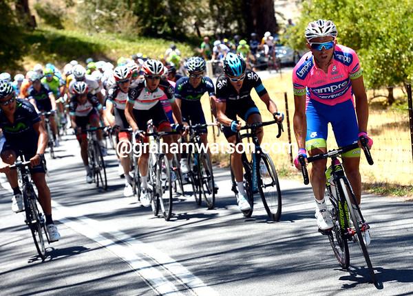 Matthew Lloyd attacks on Corkscrew Hill - the peloton is in pieces behind...