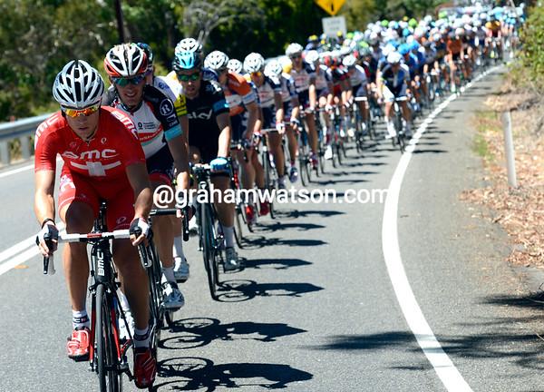 BMC chases now, with Martin Kohler leading the peloton...