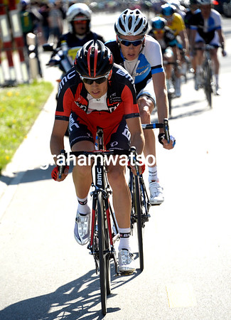 Steve Morabito is waving BMC's colours in the final move of the day...