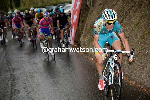 Enrico Gasparotto attacks on the final climb...