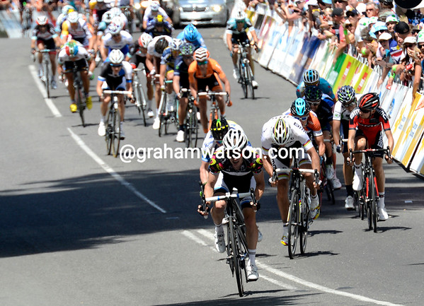 It's a long sprint to the line, with one rider clearly ahead of the rest...