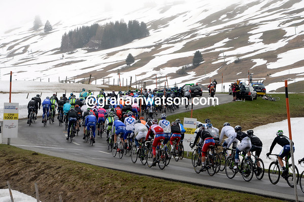 It's a cold and wintry scene at the summit of the Col des Mosses...