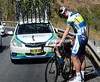 Jens Mouris needs a wheel change before he too can take to the hills...