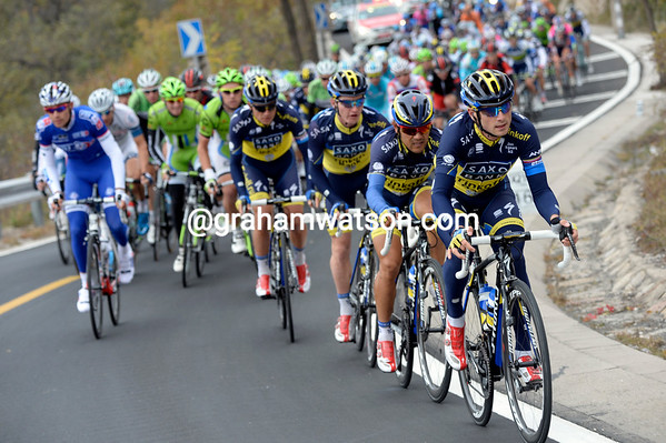 Saxo-Tinkoff are the team doing all the chasing on the following climb...