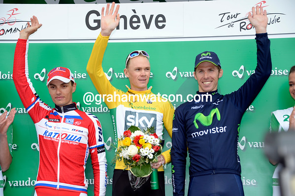 Chris Froome celebrates another big stage-win with Simon Spilak and Rui Costa...