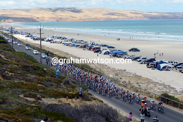 Lap two of Aldinga Beach shows a peloton more than just a little relaxed...