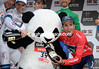 The real star of the show is the Tour of Beijing panda - slowly getting drunk with some help from Intxausti...