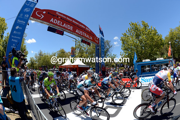 They're off - stage six starts in the centre of Adelaide...