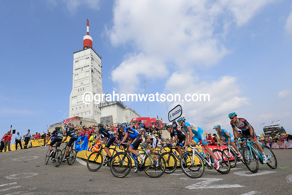A first grupetto containing Tom Danielson approaches the Ventoux observatory, almost 20-minutes down...