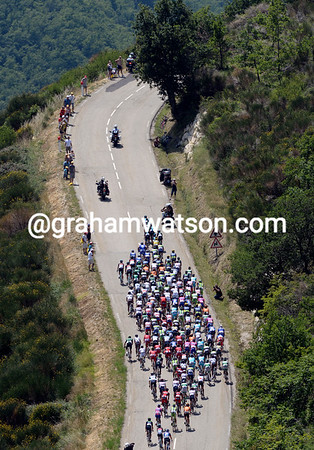 The Sky-led peloton has settled down to a more leisurely day now...