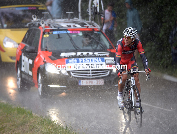 Philippe Gilbert's 50th place today might have had something to do with the weather halfway through the stage...