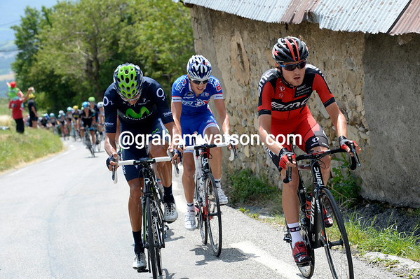 Tejay Van Garderen moves to the front, this is the start of the day's main escape...