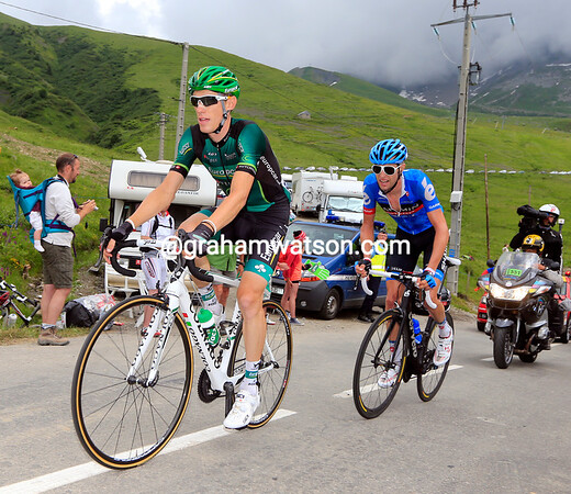 Pierre Rolland has jumped across and joined Hesjedal just before the summit of the Madeleine...