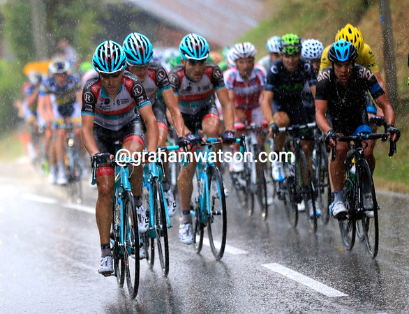 Radio Shack start to chase at the front of the peloton - there's a team classification to be won today and tomorrow..!