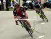 Cadel Evans descends many minutes later with Stuart O'Grady - both men will lose about 25-minutes today..!