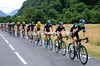 Team Sky leads the chase along the valley towards the Col de la Madeleine...