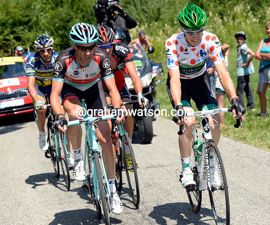 The day's first escape features Pierre Rolland and Jens Voigt - one's going for the mountain points, the other for the glory..!