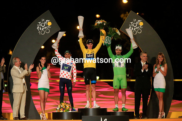 The main jersey winners are Froome, Sagan and Quintana, who is also the white jersey winner...