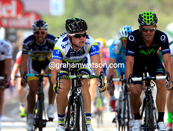 Simon Gerrans has won stage three but he just doesn't know it for sure..!