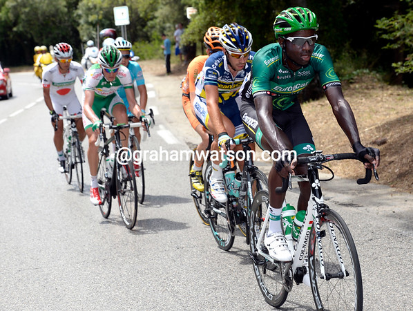 Kevin Reza has started today's escape after attacking in the opening kilometres...