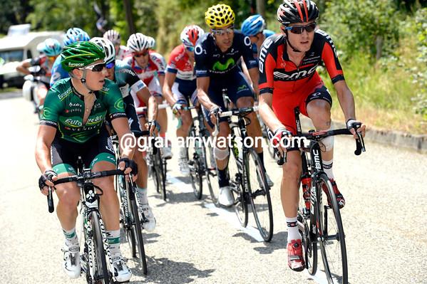 Tejay Van Garderen is in a new escape as the race starts the Col de Portet d'Aspet after 25-kilometres...