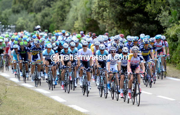 The peloton looks compact as Lotto lead the gentle chase...