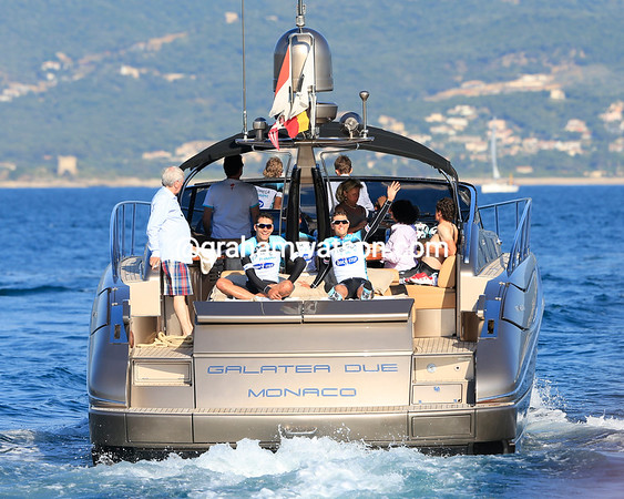 The Omega Pharma team enjoys a VIP exit from the finish to their overnight stay in Ajaccio..!