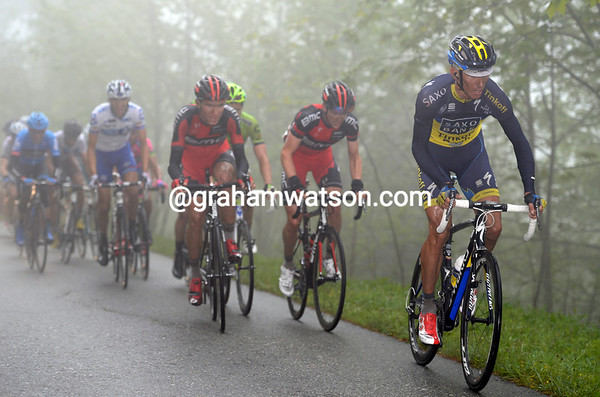 Kreuziger launches an attack near the summit - watched by Tejay Van Garderen and Matthias Frank...