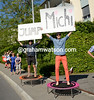 Some fans of either Michael Schar or Michael Albasini cheer the peloton towards Zurich...