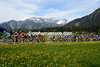 The peloton passes through Davos, about four minutes behind the escape...