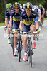 Nicholas Roche is straining hard to bring the race together for Roman Kreuziger...