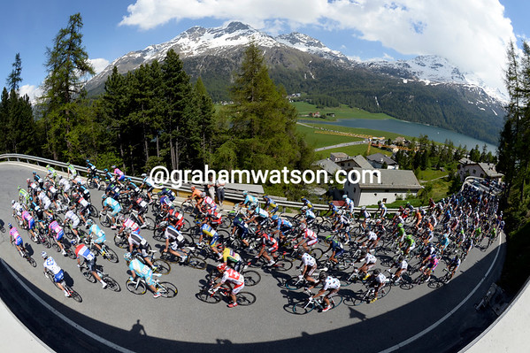 The peloton starts the nasty climb of the Julier Pass...four minutes behind the escape...
