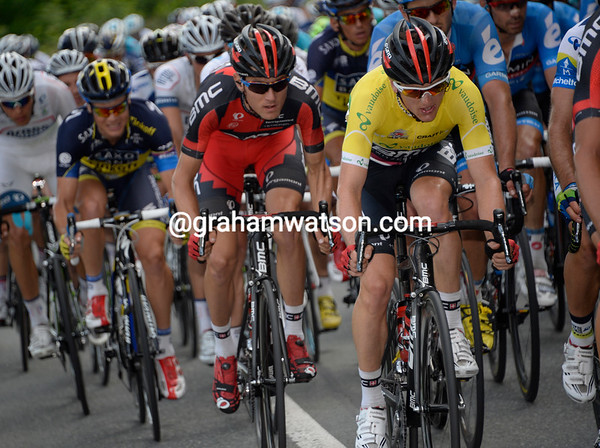 Matthias Frank and Tejay Van Garderen are now in the thick of the action as the peloton speeds up...