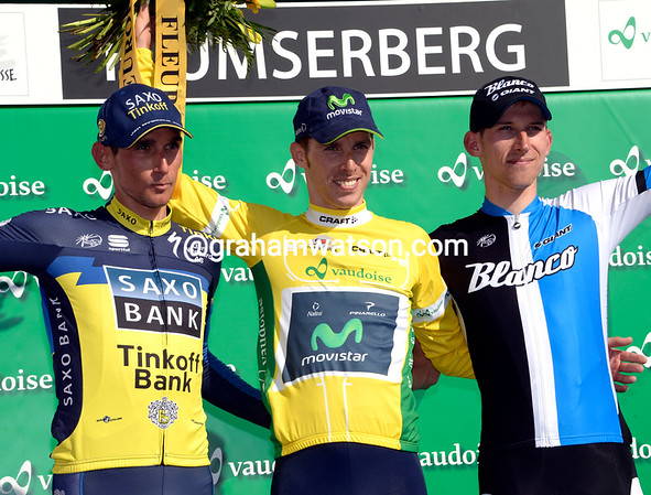 Rui Costa celebrates winning his second cionsecutive Tour de Suisse with runner-up Mollema and 3rd-placed Kreuziger...