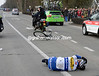 A Topsport rider hits the deck after just a few kilometres - a bigger shock comes later when Tom Boonen hits the ground and abandons...