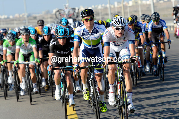 Tom Stamsnijder is chasing for Argos-Shimano, with the teams of Sky, Bardiani and Shack waiting and watching...