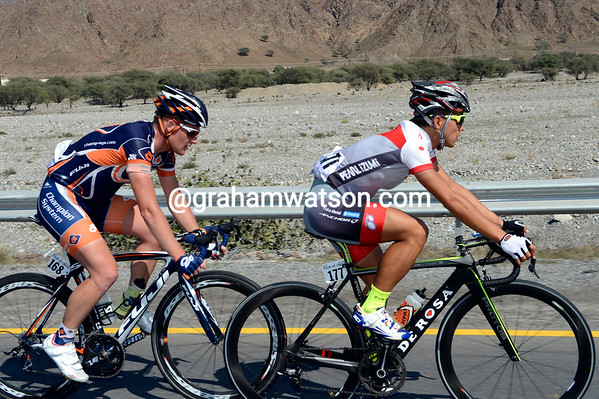 Kohei Uchima and Bobby Traksel have raced away at the start of stage one...
