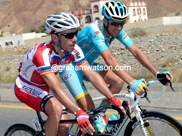 Vincenzo Nibali and Joachin Rodriguez enjoy a good chat as the stage rolls along...