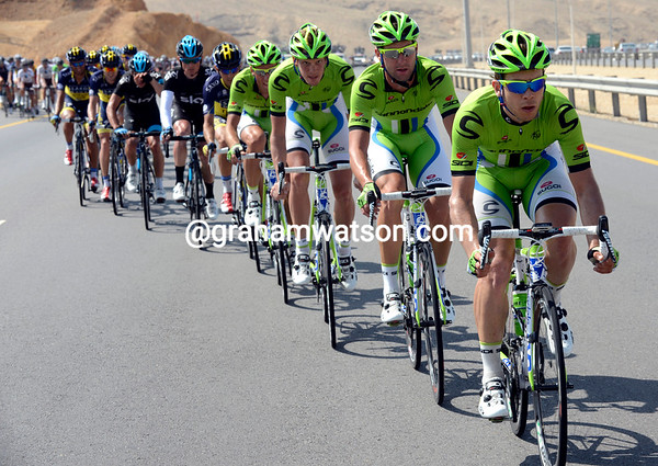 Cannondale is now chasing steadily with the gap at about six minutes...