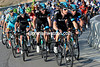 Bradley Wiggins and his Sky teamates now lead the race into the hills with 10-kilometres to go...