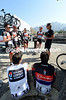 Dirk Demol holds a team talk with his Radio Shack riders before the start...