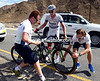 john Degenkolb needs a bike change, but it takes his mechanic and team manager to achieve it...