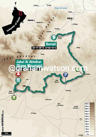 Tour of Oman Stage 4:  Al Saltiyah in Samail - Jabal Al Akhdhar (Green Mountain) 152.5 km